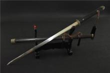 00241花纹钢花梨木简装唐剑