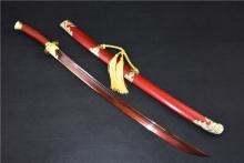 01590花纹钢发红红木清刀
