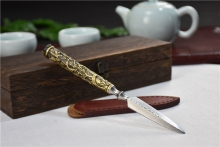 01648龙泉铜柄不锈钢茶刀(梅)