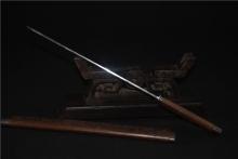 01724一字刻竹短刀